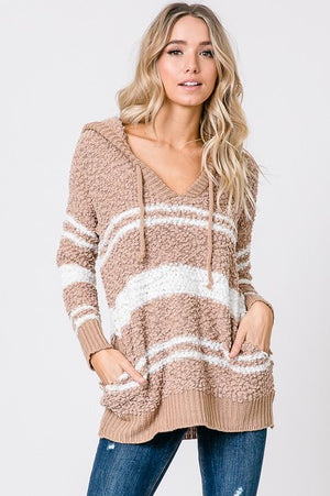 Camel Popcorn Knit Sweater