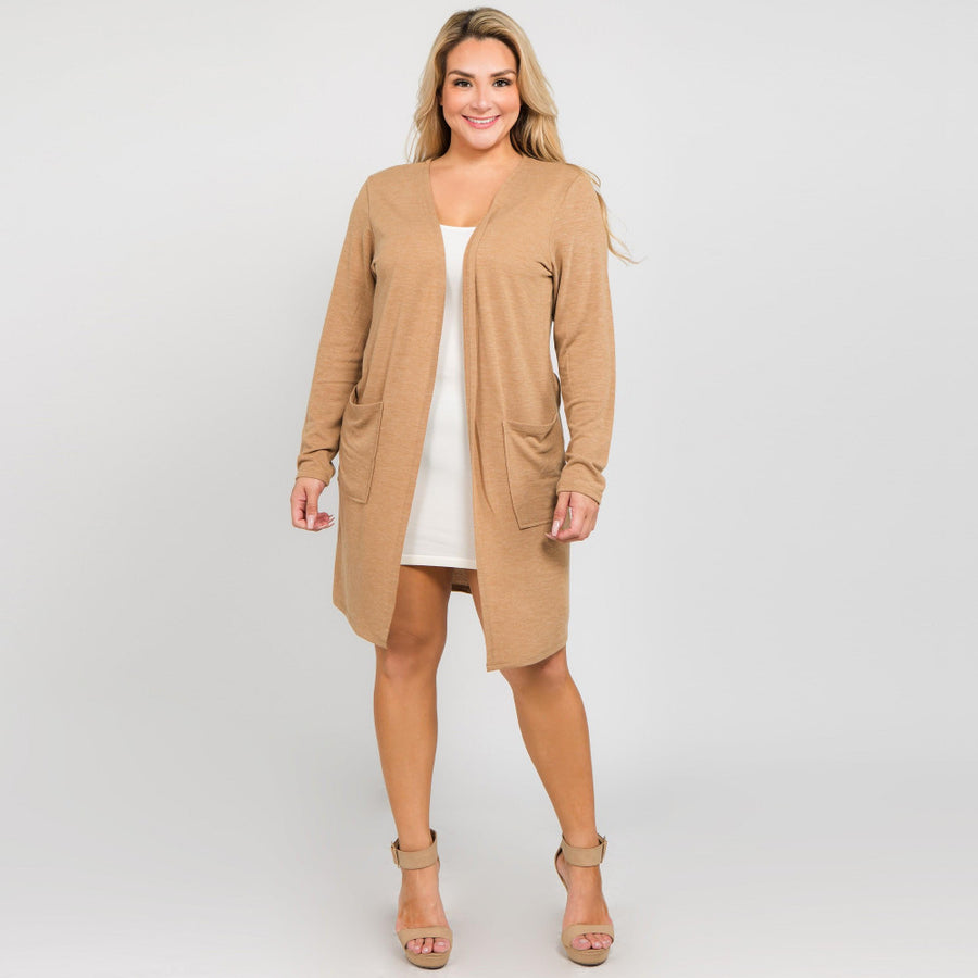 Camel Cardigan Plus Size