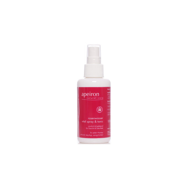 The rose water by the German brand Apeiron offers your skin nourishing care and gentle refreshment, and prepares it for the rest of your skincare routine. Your skin will feel purified, revitalised and hydrated.
