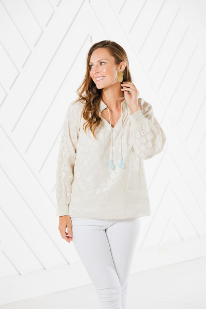 Sail to Sable Smocked Neck Tassel Top