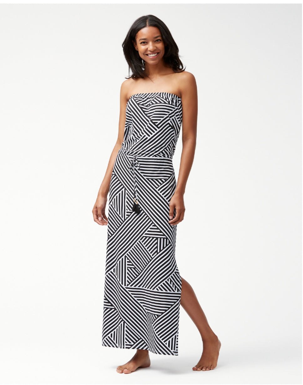 Tommy Bahama Fractured Stripe Bandeau Maxi Dress