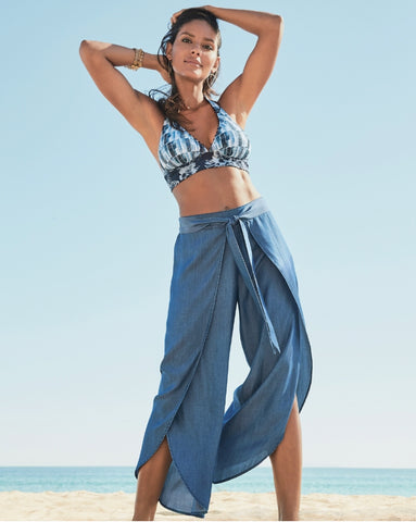 Chambray Wrap Front Beach Pant