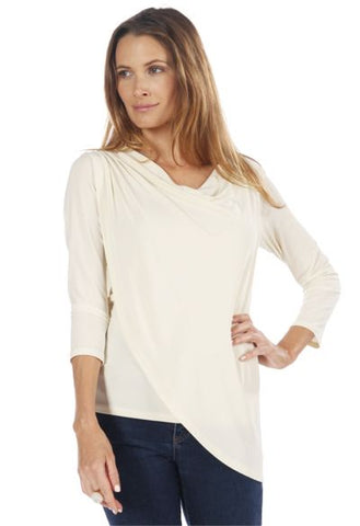 MS535 3/4 Sleeve Asymmetrical 2 Layer Top