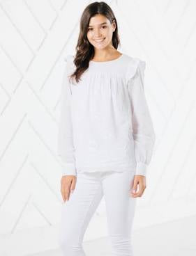 Sail to Sable Embroidered Long Sleeve Flutter Top