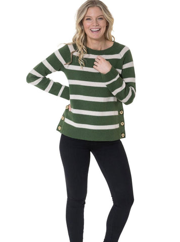 Merino Wool Long Sleeve Stripe Sweater