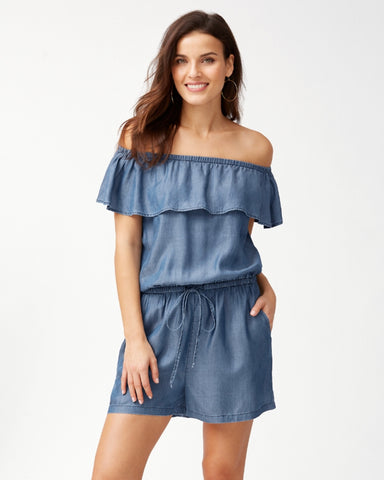 Chambray Short Ruffle Romper