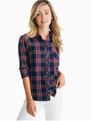 Southern Tide Emery Button Spice Plantation Plaid