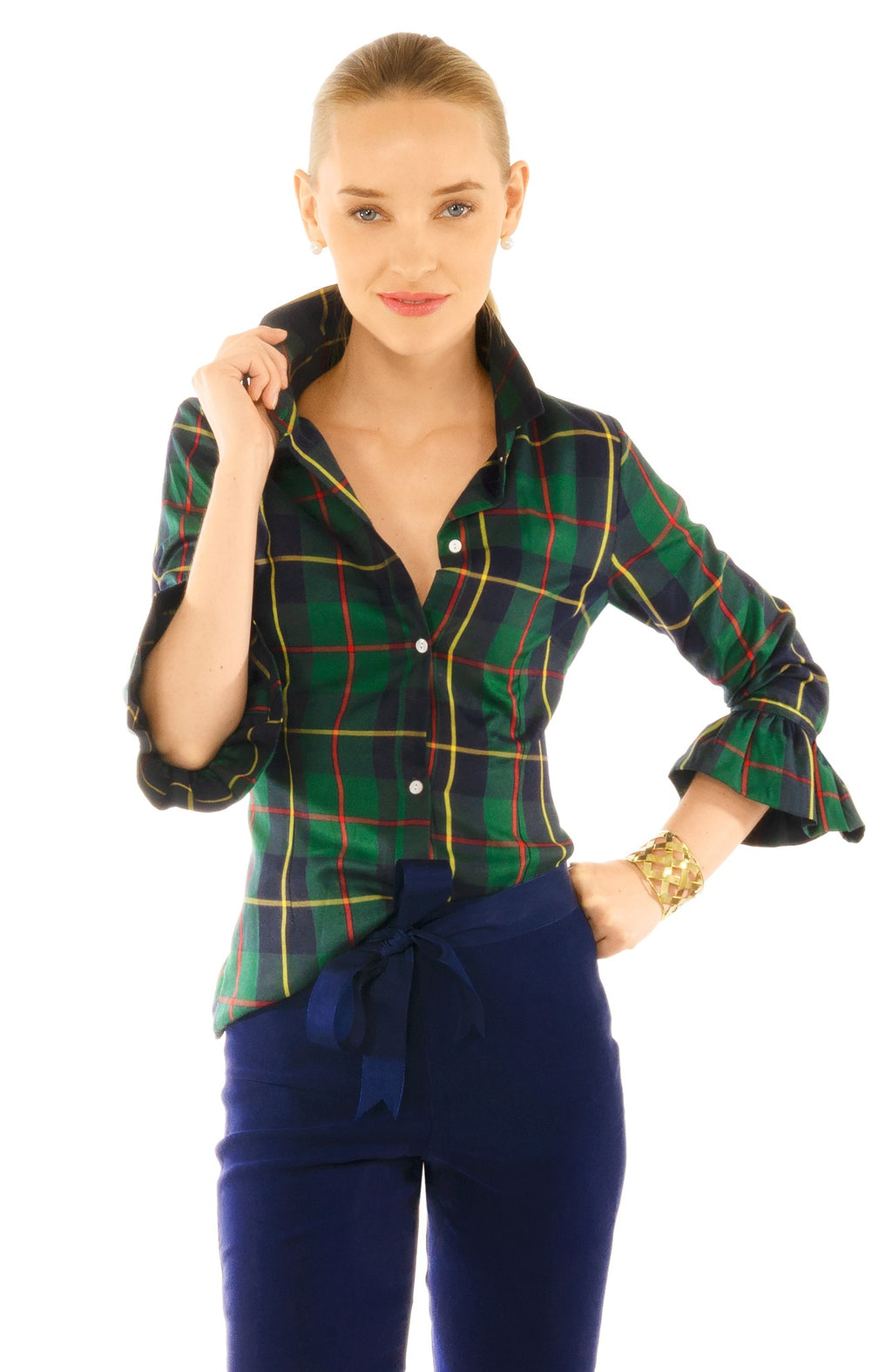 Gretchen Scott Priss Blouse Plaid Cooper