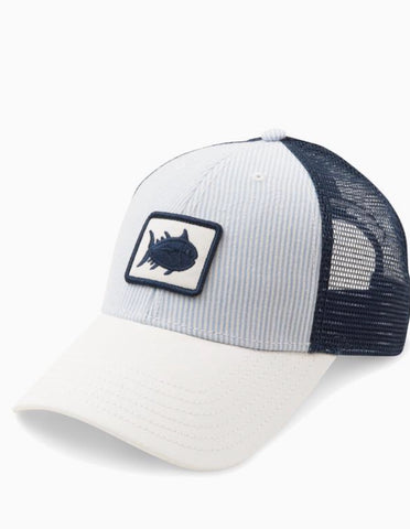 3984 Seersucker Patch Trucker Hat