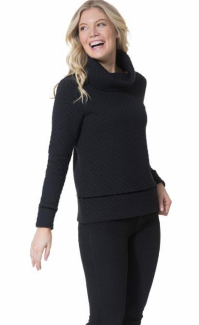 Dot Textured Cowl Neck Pullover