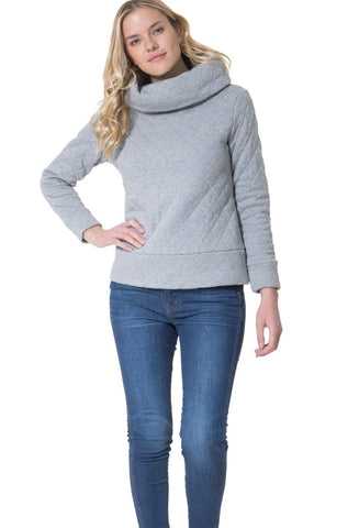 Quilted French Terry Cowl Neck Pullover