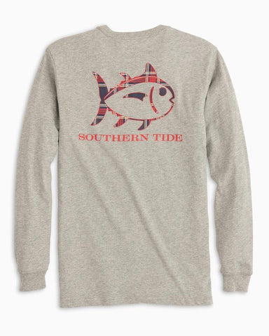 LONG SLEEVE HEATHERED PLAID SKIPJACK T-SHIRT