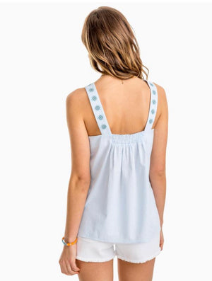 4190 Clara Embroidered Seersucker Tank