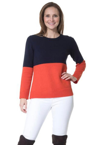 Merino Wool Colorblock Long Sleeve Sweater