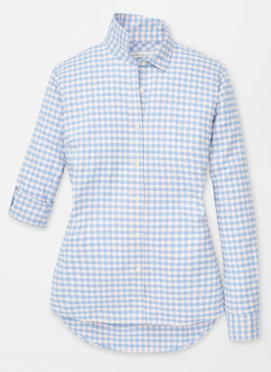 LS19W02 Gingham Stretch Woven Button Up