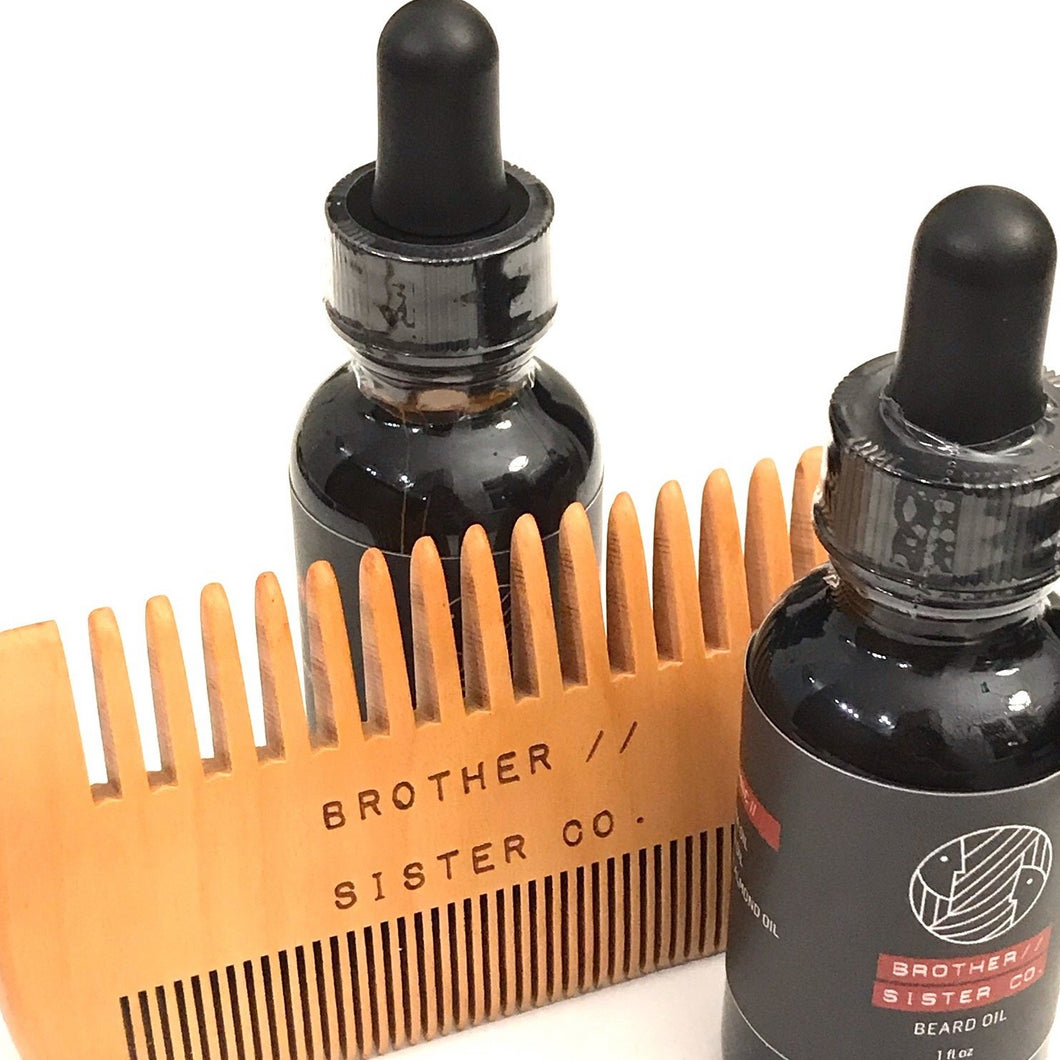 Brother//Sister Beard Oil - 2 bottles - and Comb Combo