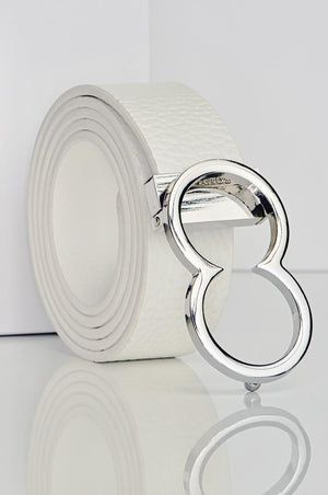 BL10 Leather Icon Belt | White