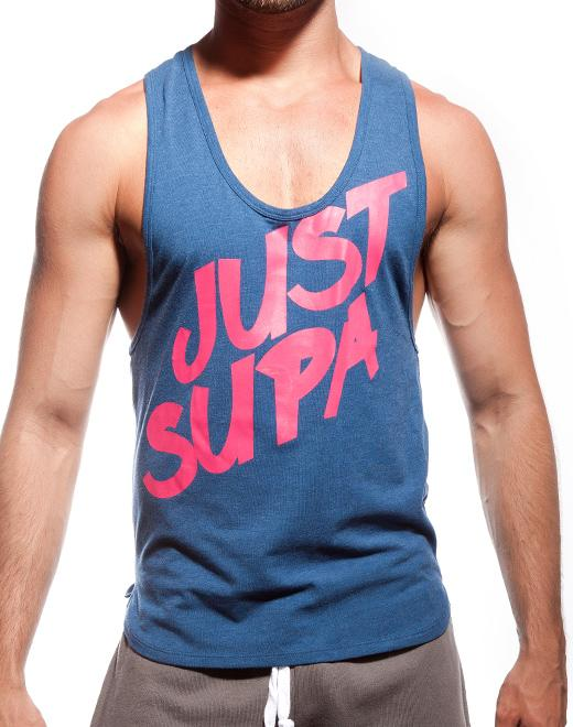 Just Supa Singlet | Navy Marle