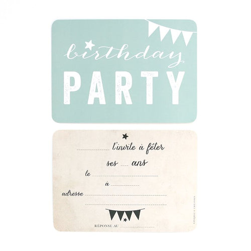 5 Cartes invitation Birthday Party Mint