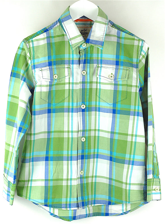 Boden Green Check Long Sleeved Shirt Age 5-6