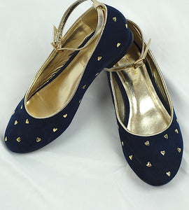 Monsoon Navy Heart Ankle tie Shoes Size 2