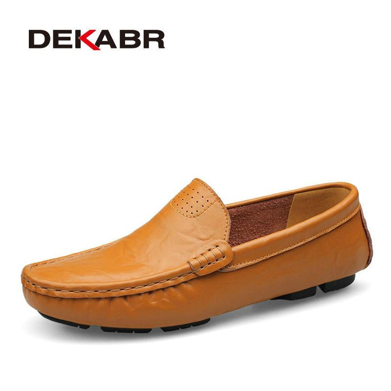DEKABR Men Genuine Leather Soft Moccasins Loafers