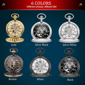 OYW Stainless Steel Pocket Watch Skeleton Dial