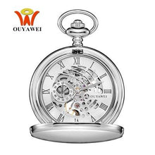 Load image into Gallery viewer, OYW Stainless Steel Pocket Watch Skeleton Dial