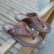 Load image into Gallery viewer, Summer Leather Beach Flip Flops