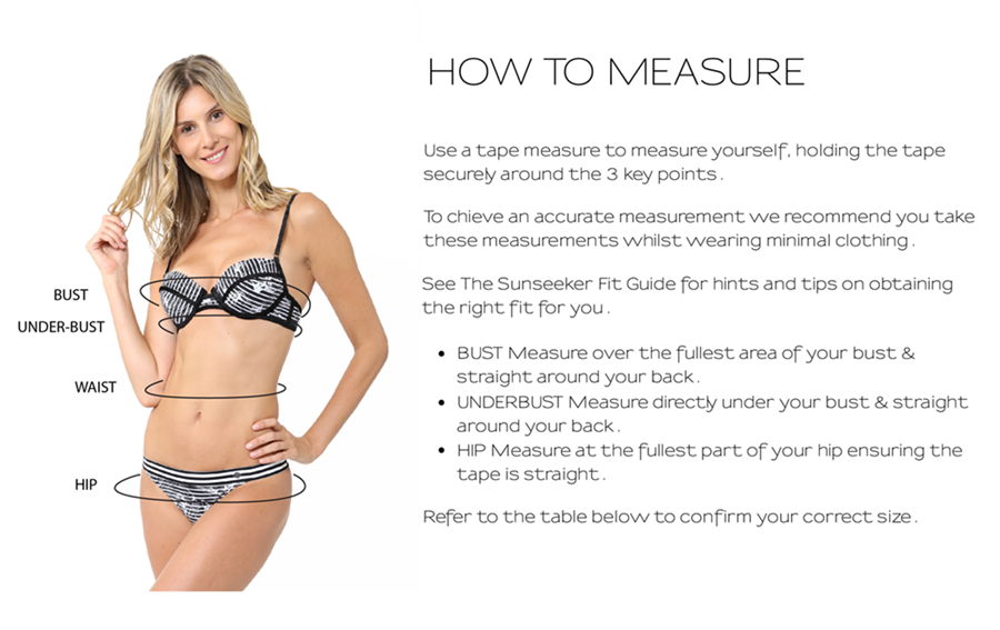 Steps on how to measure yourself for Sunseeker Swimwear