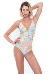 Plus Cup Onepiece Stencilled Tropics Plus Cup One Piece - Sunseeker