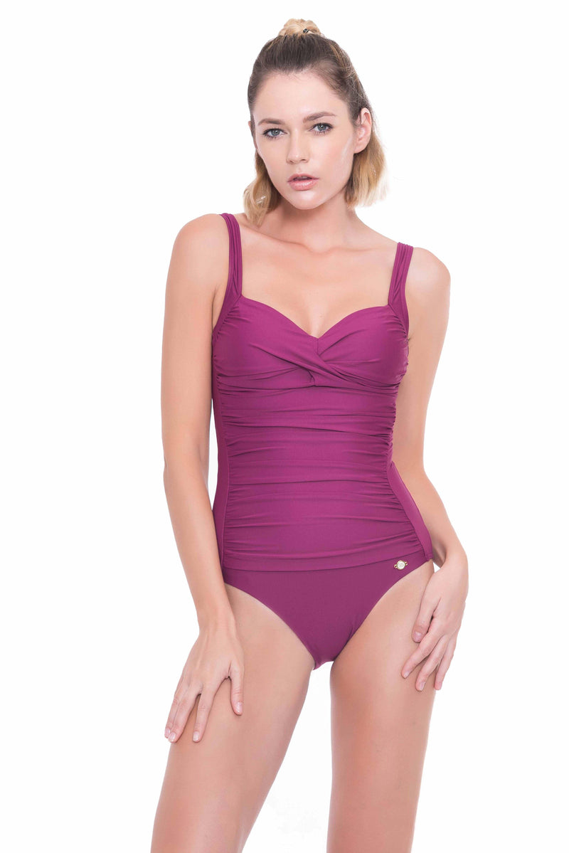Plus Cup Onepiece Solids Plus Cup Twist Front One Piece - Sunseeker