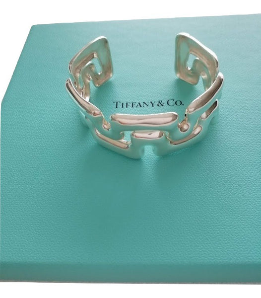 594042118a249 Tiffany & Co Silver Puzzle Wide Cuff Bangle Bracelet Rare With Pouch ...