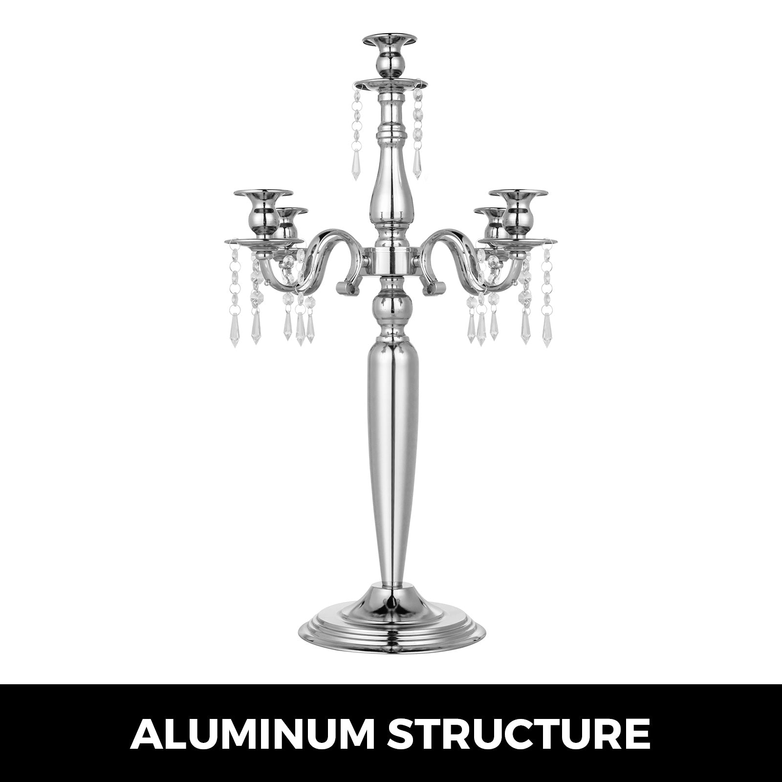 Wedding Votive Candle Holder 5 Arms Candelabra Gothic Silver Centerpieces Decor