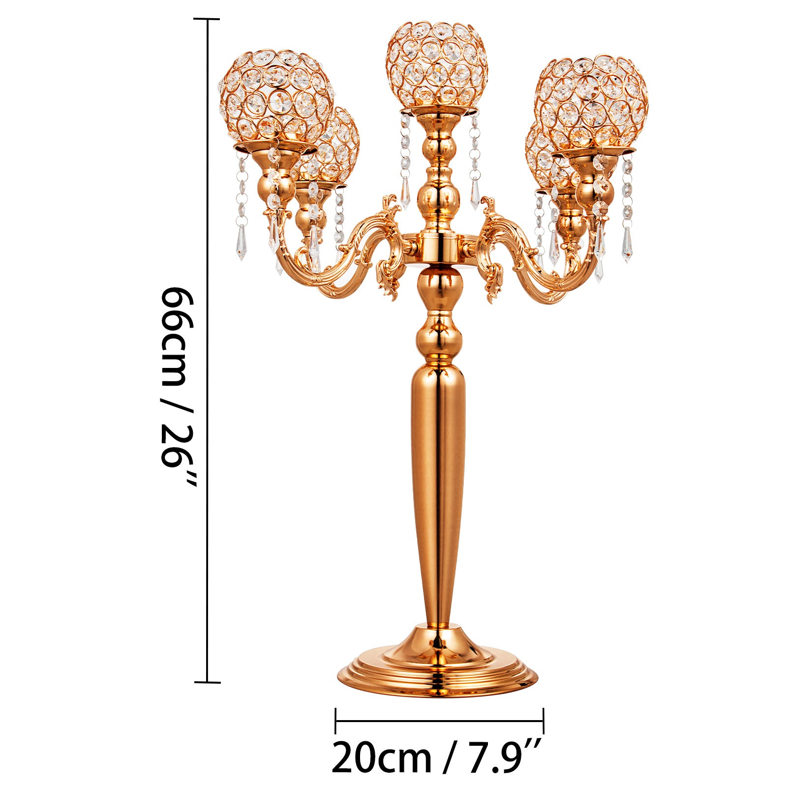 5 Arm Candelabra Candle Holder 26 Inch Wedding Centerpieces With Crystal Globe