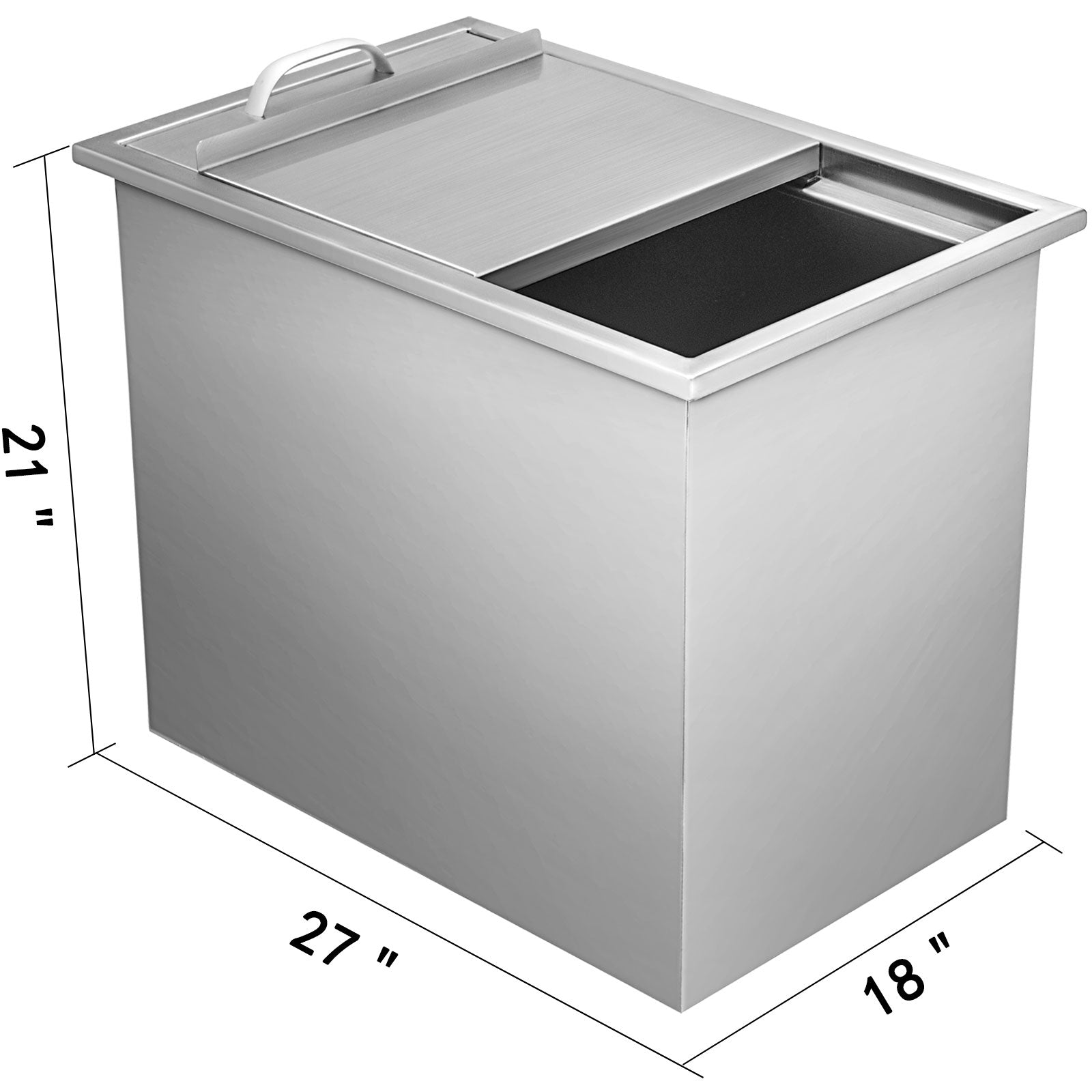 "27""x18"" Outdoor Kitchen Drop-in Ice Chest Bin Cooler 304 Beer Ice Buckets Box"