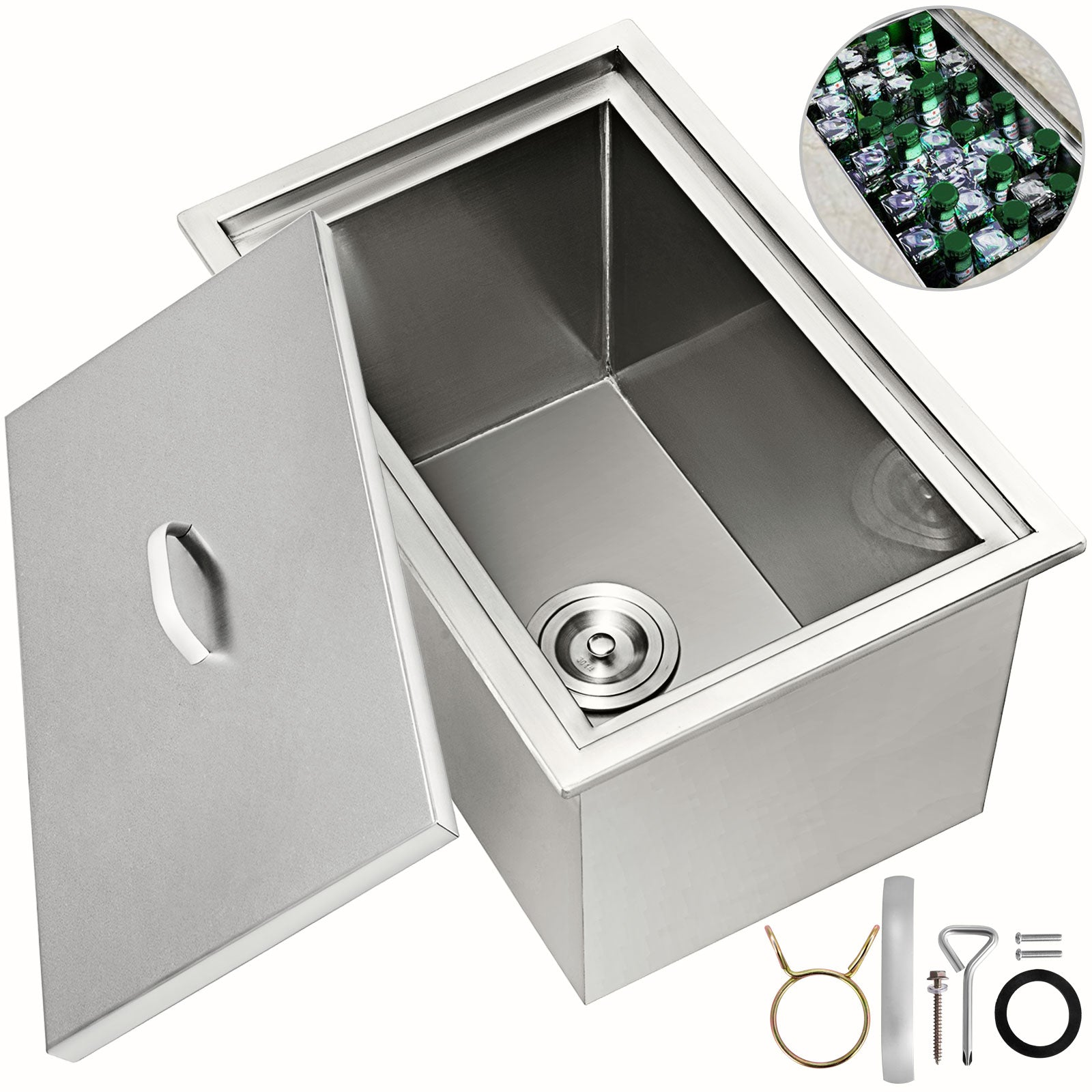"21""x16.8"" Bbq Island Stainless Steel Drop In Ice Chest/cooler W/drain Close"