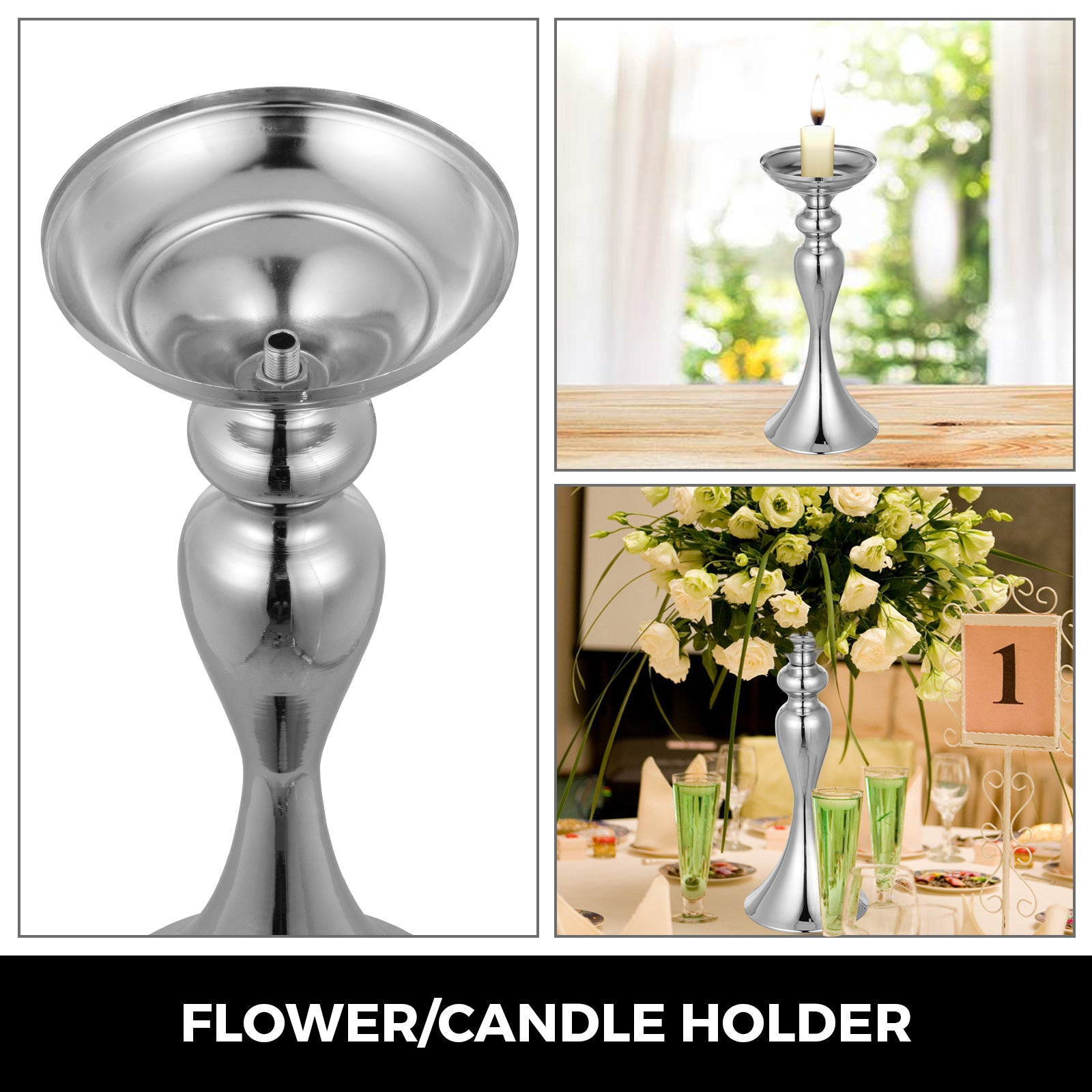 "Wedding Flower Stand Rack Vase 10pcs Metal Candle Stand 12.6"" Table Centerpieces"