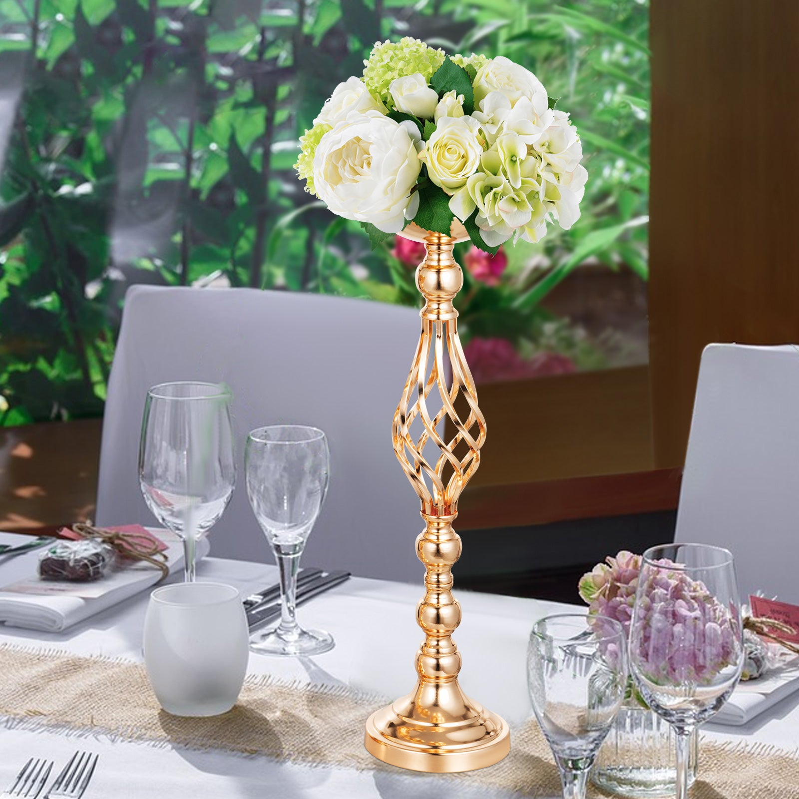 Candle Holder Vase For Wedding Metal Flower Rack 11pcs Gold Centerpiece Vase
