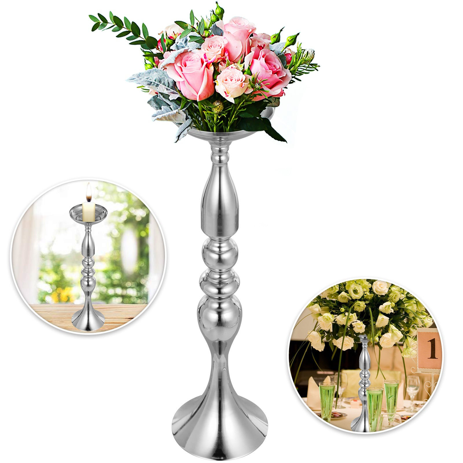"Wedding Flower Stand Rack Vase 10pcs Metal Candle Stand 19.6"" Table Centerpieces"