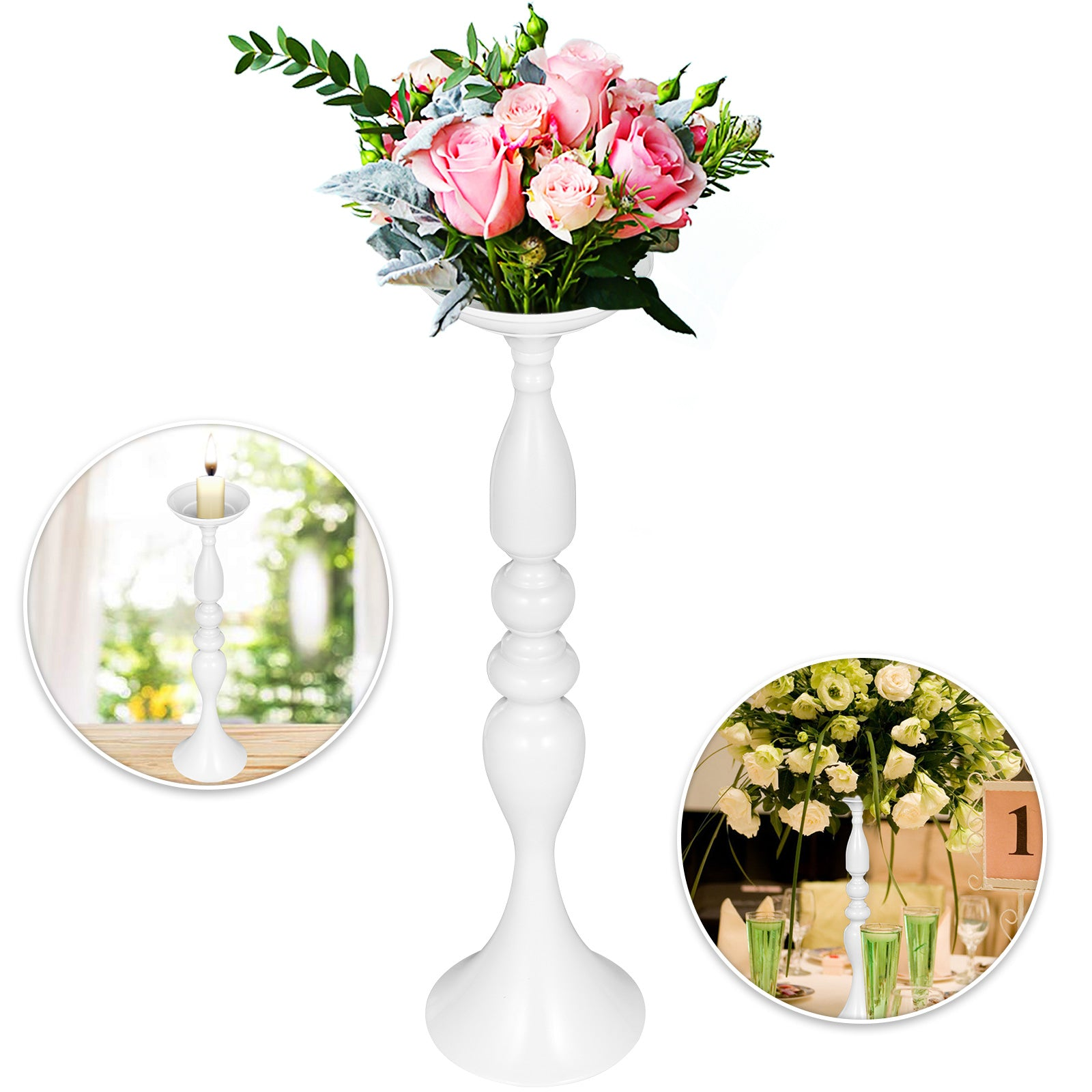 Flower Rack For Wedding Flower Stand Metal Candle 10pcs White Centerpieces Vase