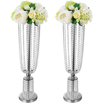 Wedding Flower Stands Centerpieces Crystals Table Decor Flower Rack Vases 2pcs
