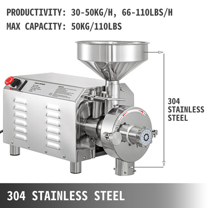 Commercial Grinding Machine For Grain2.2kw, Electric Grain Grinderpowder Mill