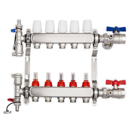 5-branch Pex Radiant Floor Heating Manifold Set - Stainless Steel For 1/2