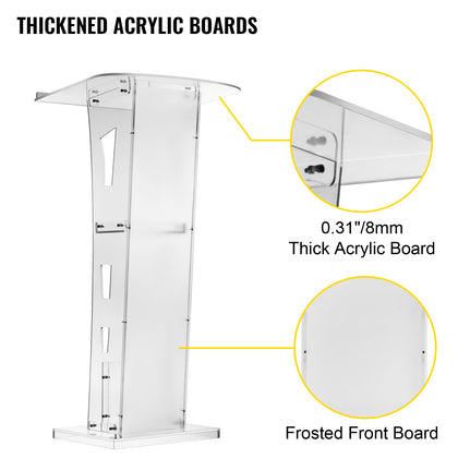 Vevor Acrylic Podium Plexiglass Podium 47.5 In Tall Acrylic Pulpits For Churches