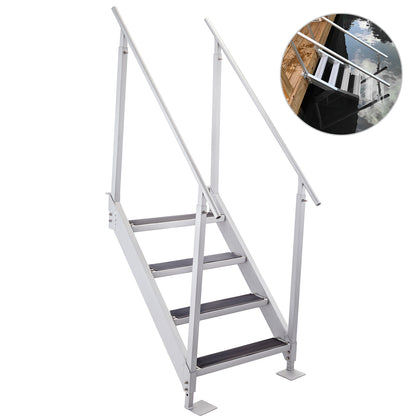 Aluminum Dock Ladder Boat Dock Ladder 4 Steps Pontoon Dock Ladder, Dock Stairs