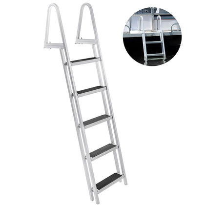 Aluminum Dock Ladder Boat Dock Ladder 5 Steps Pontoon Dock Ladder, Dock Stairs