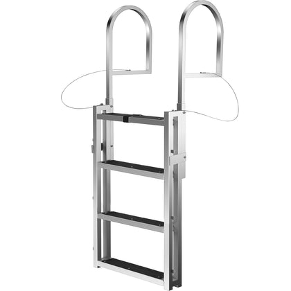 Vevor Aluminum Dock Ladder Boat Ladder 4-step Sliding Ladderfor Dock Adjustable