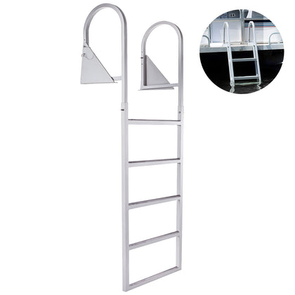 Aluminum Dock Ladder, Boat Dock Ladder 5 Steps, Pontoon Dock Ladder, Dock Stairs