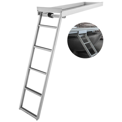 Aluminum Dock Ladder Boat Dock Ladder, 5 Steps, Pontoon Boat Ladder, Dock Stairs